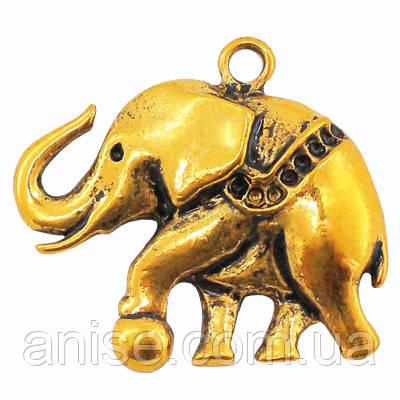 Кулон Слон, Металл, Цвет: Античное Золото, Размер: 35х32х5мм, Отверстие 2.5мм, (УТ000005756)