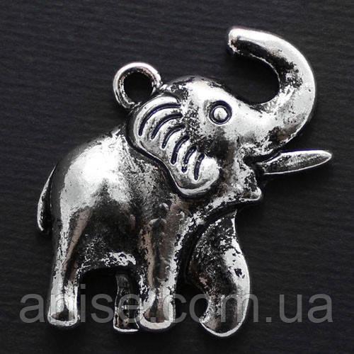 Кулон Слон, Металл, Цвет: Античное Серебро, Размер: 34х31х5мм, Отверстие 2.5мм, (УТ000006596)