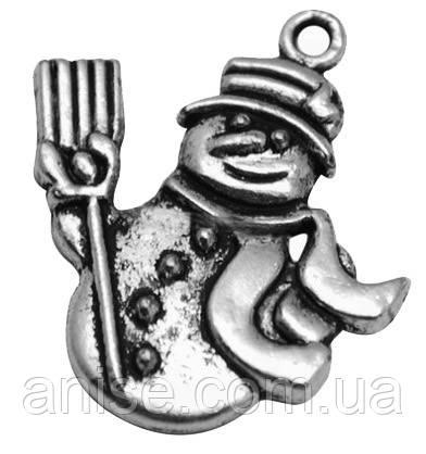 Кулон Снеговик, Металл, Цвет: Античное Серебро, Размер: 29х25х2мм, Отверстие 3мм, (БА000001286)