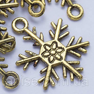 Кулон Снежинка, Металл, Цвет: Античное Золото, Размер: 26х19х2мм, Отверстие 2мм, (УТ0024641)