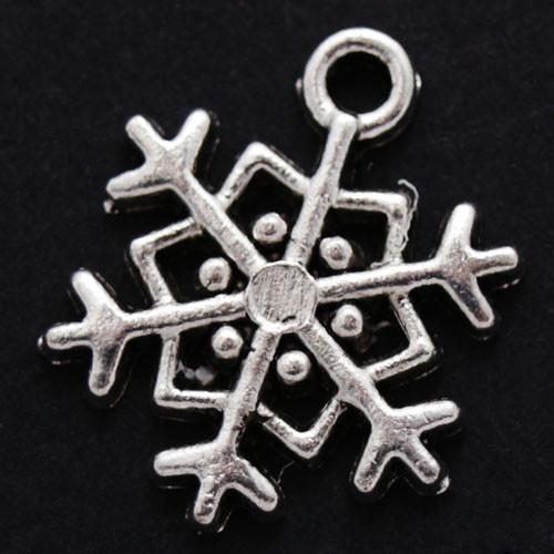 Кулон Снежинка, Металл, Цвет: Античное Серебро, Размер: 18х15х2мм, Отверстие 1мм, (БА000001296)