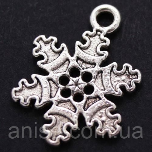 Кулон Снежинка, Металл, Цвет: Античное Серебро, Размер: 22х12х2мм, Отверстие 1.5мм, (БА000001427)