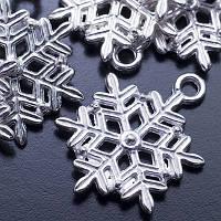 Кулон Снежинка, Металл, Цвет: Серебро, Размер: 22х19х3мм, Отверстие 2мм, (УТ0024672)