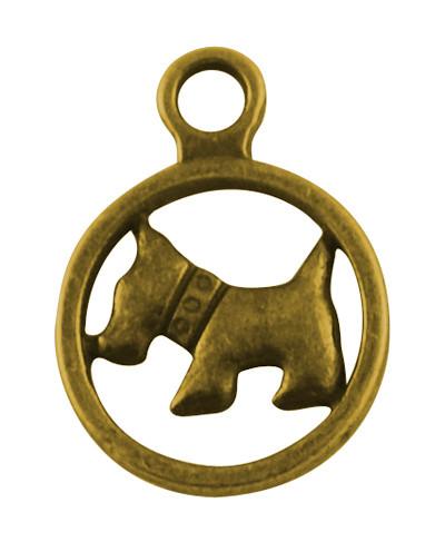 Кулон Собака, Металл, Цвет: Античное Золото, Размер: 19х24х2мм, Отверстие 2.5мм, (БА000001355)