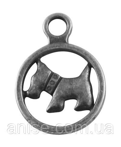 Кулон Собака, Металл, Цвет: Античное Серебро, Размер: 19х14х2мм, Отверстие 2.5мм, (БА000001354)