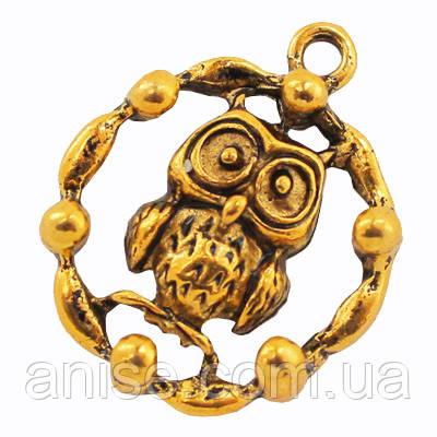 Кулон Сова, Метал, Колір: Античне Золото, Розмір: 23х19х5мм, Отвір 2мм, (УТ000005687)