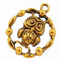 Кулон Сова, Металл, Цвет: Античное Золото, Размер: 23х19х5мм, Отверстие 2мм, (УТ000005687)
