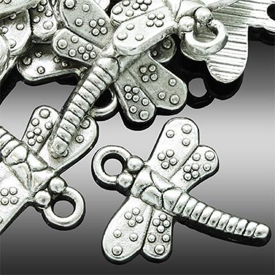 Кулон Стрекоза, Металл, Цвет: Античное Серебро, Размер: 18х15х2мм, Отверстие 1.5мм, (УТ0002180)