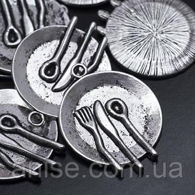 Кулон Тарелка, Металл, Цвет: Античное Серебро, Размер: 30х23х2мм, Отверстие 3мм, (УТ0019124)