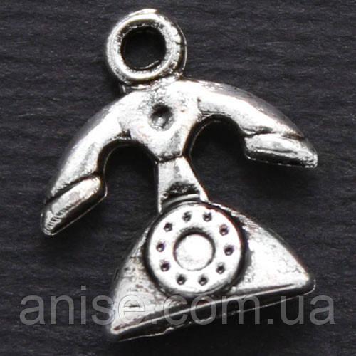 Кулон Телефон, Металл, Цвет: Античное Серебро, Размер: 13х12х4мм, Отверстие 2мм, (УТ000006672)