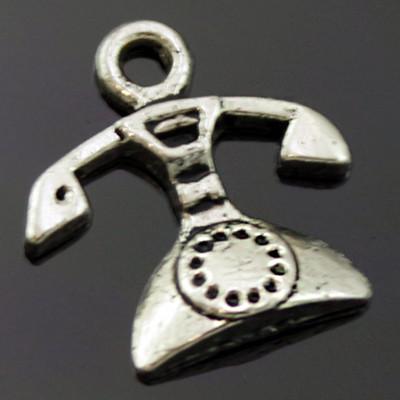 Кулон Телефон, Метал, Колір: Античне Срібло, Розмір: 16х15х3мм, Отвір 2мм, (УТ000006459)