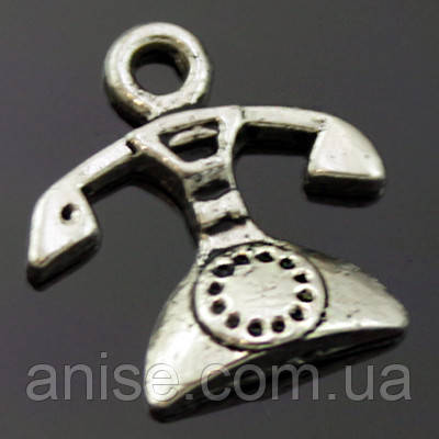 Кулон Телефон, Металл, Цвет: Античное Серебро, Размер: 16х15х3мм, Отверстие 2мм, (УТ000006459)