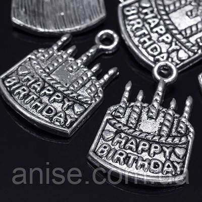 Кулон Торт, Металл, Цвет: Античное Серебро, Размер: 11х15х2мм, Отверстие 2мм, (УТ0018569)
