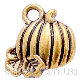 Кулон Тыква, Металл, Цвет: Античное Золото, Размер: 11х11х3мм, Отверстие 2мм, (УТ000006669)