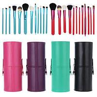 Кисти для макияжа MAC 12 штук в тубусе черные, фиолетовые, голубые, коралловые, бирюзовые, розовые