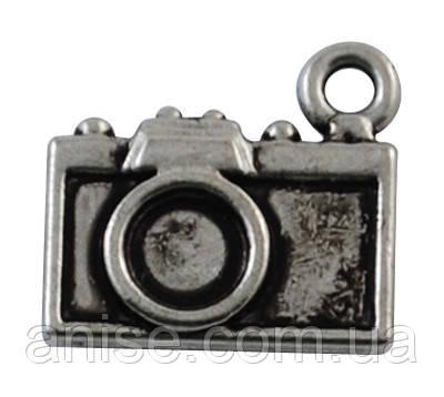 Кулон Фотоаппарат, Металл, Цвет: Античное Серебро, Размер: 14х12х3мм, Отверстие 1мм, (БА000000492)