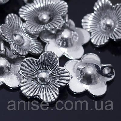 Кулон Цветок, Металл, Цвет: Античное Серебро, Размер: 13,5х13,5мм, Отверстие 2,5мм, (УТ000004993)