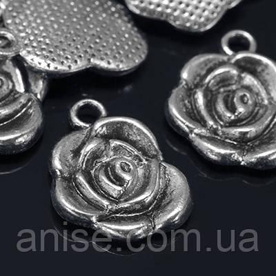 Кулон Квітка, Метал, Колір: Античне Срібло, Розмір: 17.5х14х3мм, Отвір 2мм, (УТ000004942)