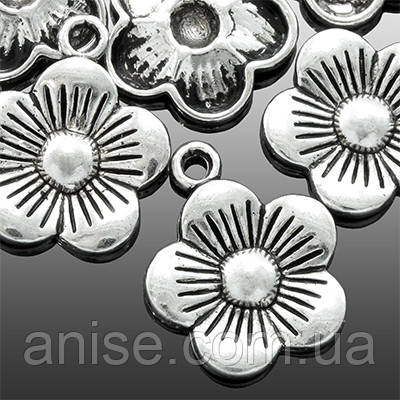 Кулон Цветок, Металл, Цвет: Античное Серебро, Размер: 19х15х2мм, Отверстие 2мм, (УТ0018550)