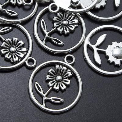 Кулон Цветок, Металл, Цвет: Античное Серебро, Размер: 21х18х2мм, Отверстие 1.5мм, (УТ0002997)