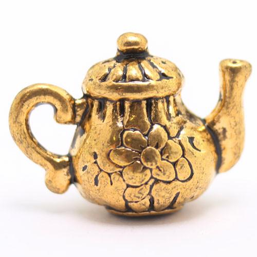 Кулон Чайник, Металл, Цвет: Античное Золото, Размер: 13х15х8мм, Отверстие 2мм, (УТ000006719)