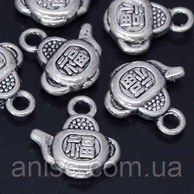Кулон Чайник, Металл, Цвет: Античное Серебро, Размер: 13х13х4мм, Отверстие 2мм, (УТ000005841)