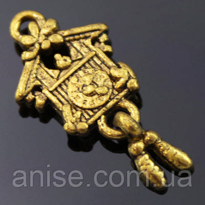 Кулон Часы, Металл, Цвет: Античное Золото, Размер: 25х10х3мм, Отверстие 2мм, (УТ000003533)