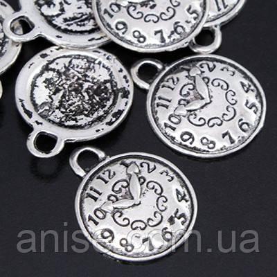 Кулон Часы, Металл, Цвет: Античное Серебро, Размер: 22х18х2мм, Отверстие 2мм, (БА000000523)