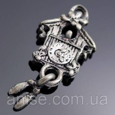 Кулон Часы, Металл, Цвет: Античное Серебро, Размер: 25х10х3мм, Отверстие 2мм, (УТ000003534)