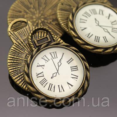 Кулон Часы, Металл, Цвет: Бронза, Размер: 26х20х2мм, Отверстие 2мм, (УТ000005482)