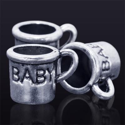 Кулон Чашка, Металл, Цвет: Античное Серебро, Размер: 10х14х10мм, Отверстие 3мм, (УТ0018567)