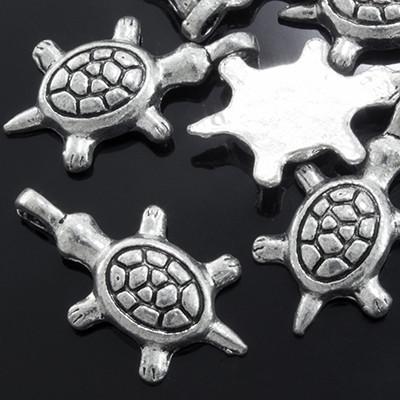 Кулон Черепаха, Металл, Цвет: Античное Серебро, Размер: 21х12х3мм, Отверстие 2мм, (УТ0002322)