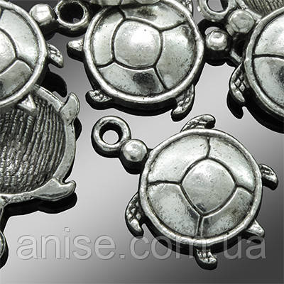 Кулон Черепаха, Металл, Цвет: Античное Серебро, Размер: 22х15х3мм, Отверстие 1.5мм, (УТ0002313)