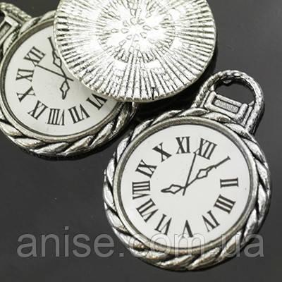 Кулон Часы, Металл, Цвет: Античное Серебро, Размер: 26х20х2мм, Отверстие 2мм, (УТ000005481)