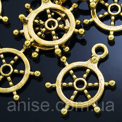 Кулон Штурвал, Металл, Цвет: Античное Золото, Размер: 20х17.5х2мм, Отверстие 2мм, (УТ000003865)