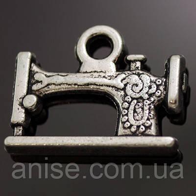 Кулон Швейная Машинка, Металл, Цвет: Античное Серебро, Размер: 19х12х3мм, Отверстие 2мм, (УТ000006623)