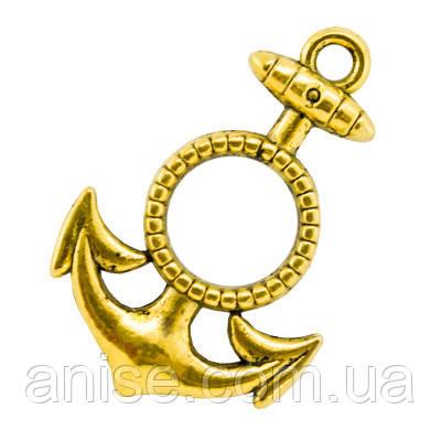 Кулон Якорь, Металл, Цвет: Античное Золото, Размер: 26х18х2мм, Отверстие 3мм, (УТ000004330)