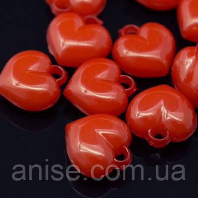 Кулоны Акриловые Желейные, Сердце, Цвет: Красный, Размер: 16х15х8мм, Отв-тие 2.5мм, около 46 шт/50 г, (УТ0005694)
