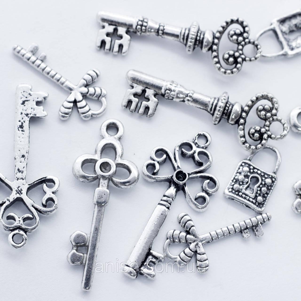 Кулоны Ключи Микс, Металл, Цвет: Античное Серебро, Размер: Микс, (УТ0012713)