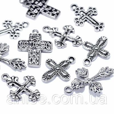 Кулоны Кресты Микс, Металл, Цвет: Античное Серебро, Размер: Микс, (УТ0012709)
