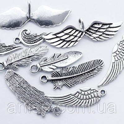 Кулоны Крылья Микс, Металл, Цвет: Античное Серебро, Размер: Микс, (УТ0012711)