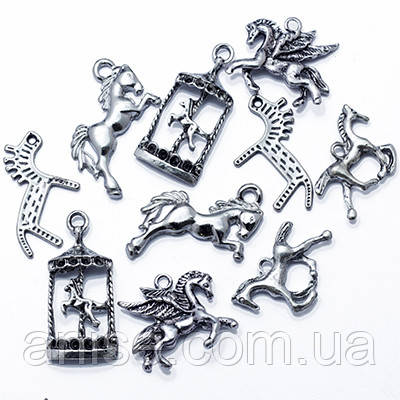 Кулоны Лошади Микс, Металл, Цвет: Античное Серебро, Размер: Микс, (УТ0012737)