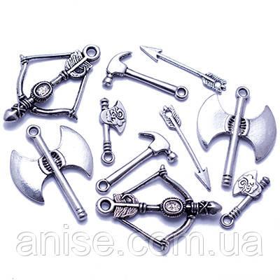 Кулоны Оружие Микс, Металл, Цвет: Античное Серебро, Размер: Микс, (УТ0013560)