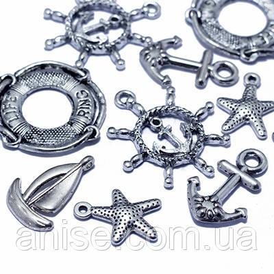 Кулоны Морские Микс, Металл, Цвет: Античное Серебро, Размер: Микс, (УТ0012715)