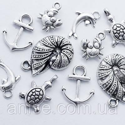 Кулоны Морские Микс, Металл, Цвет: Античное Серебро, Размер: Микс, (УТ0012716)