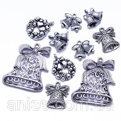 Кулоны Новогодние Микс, Металл, Цвет: Античное Серебро, Размер: Микс, (УТ0013543)