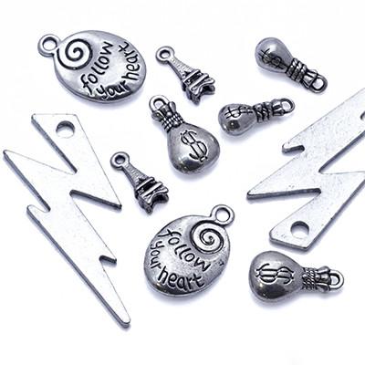 Кулоны Смешанные Темы Микс, Металл, Цвет: Античное Серебро, Размер: Микс, (УТ0013540)