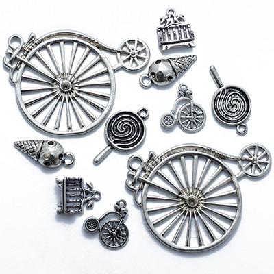 Кулоны Смешанные Темы Микс, Металл, Цвет: Античное Серебро, Размер: Микс, (УТ0013549)