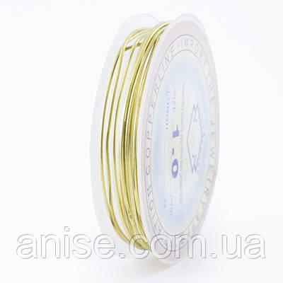 Медная Проволока 1мм/2.5м, Цвет: Золото, Толщина 1 мм, около 2.5м/моток, (УТ0028125)