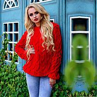 Акриловый женский свитер М  776907  Красный